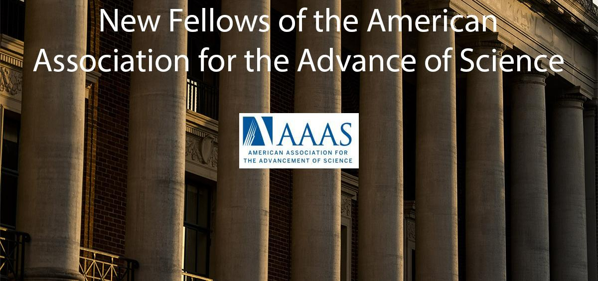 AAAS logo and image of MU building columns